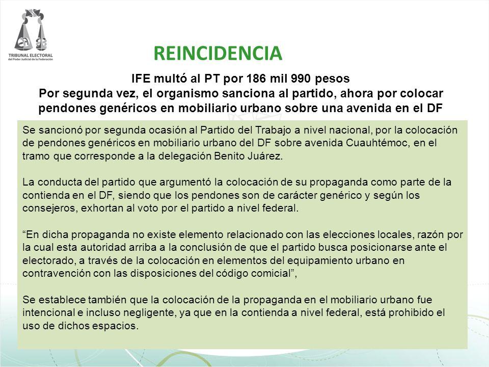 IFE multó al PT por 186 mil 990 pesos