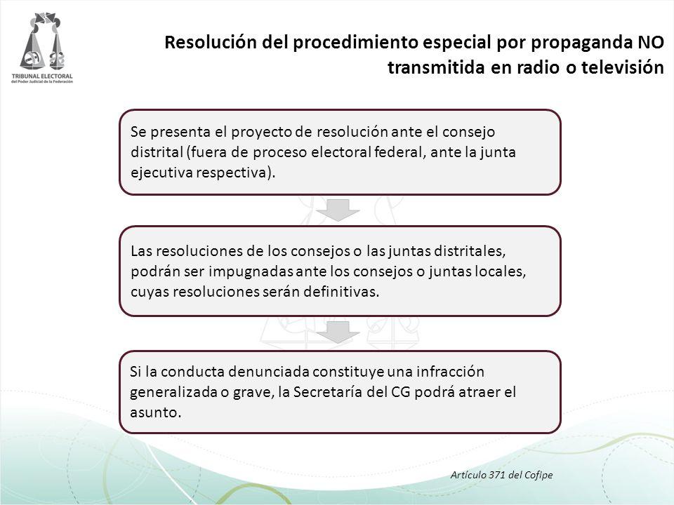 Resolución del procedimiento especial por propaganda NO transmitida en radio o televisión