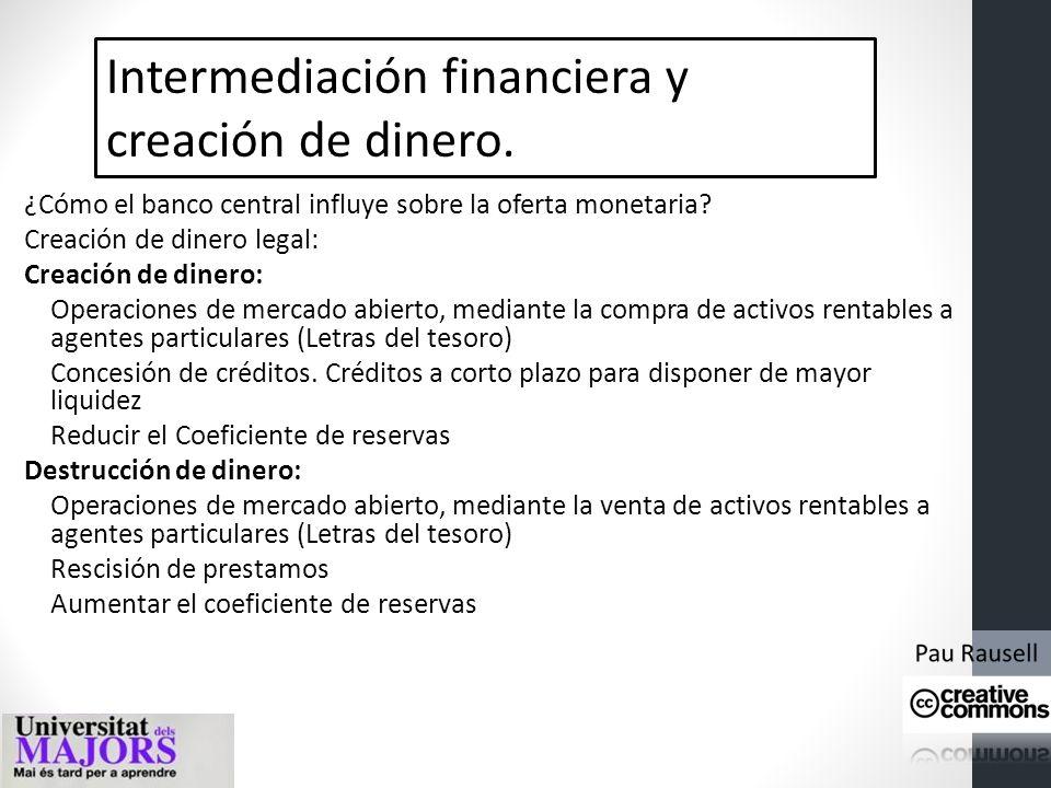 Intermediación financiera y creación de dinero.