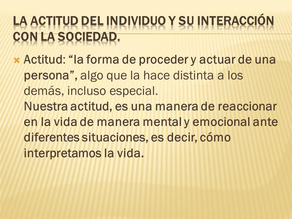 La actitud del individuo y su interacción con la sociedad.