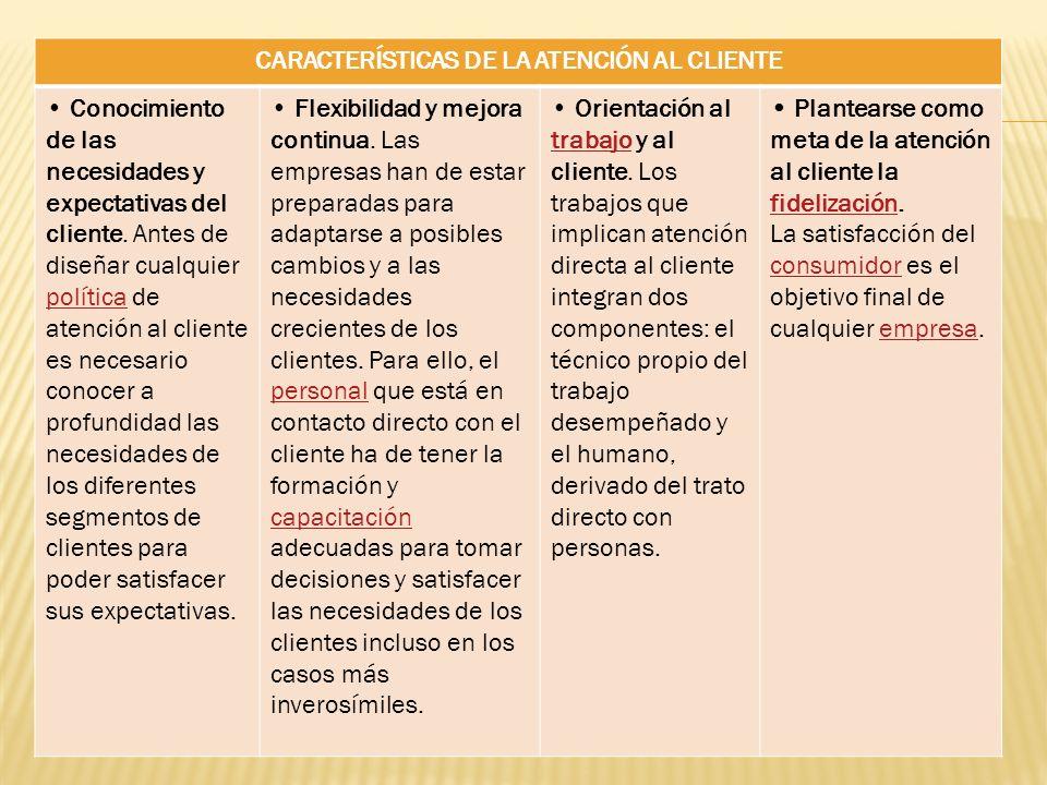CARACTERÍSTICAS DE LA ATENCIÓN AL CLIENTE