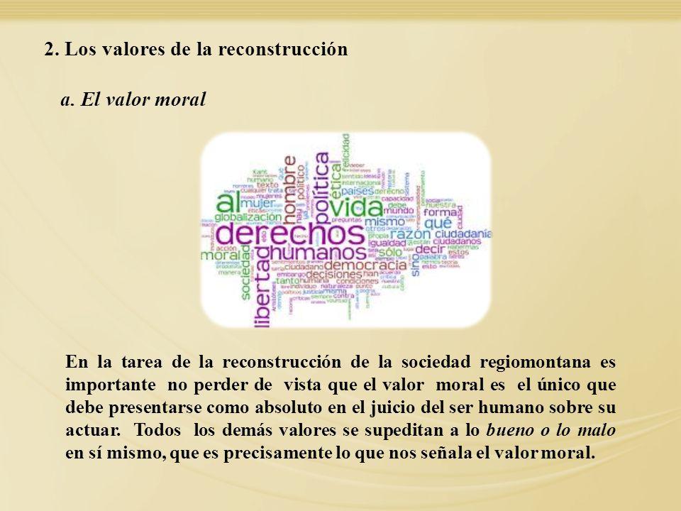 2. Los valores de la reconstrucción
