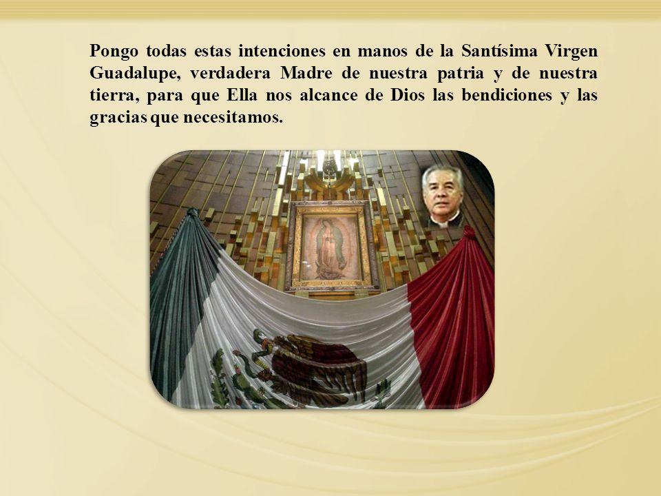 Pongo todas estas intenciones en manos de la Santísima Virgen Guadalupe, verdadera Madre de nuestra patria y de nuestra tierra, para que Ella nos alcance de Dios las bendiciones y las gracias que necesitamos.