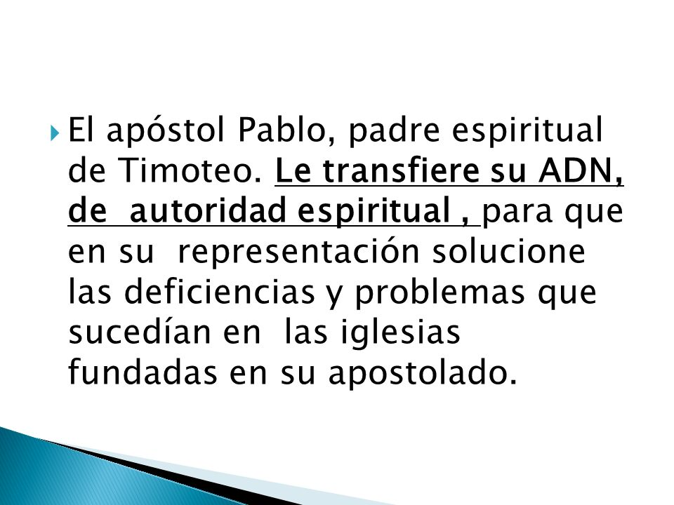 El apóstol Pablo, padre espiritual de Timoteo