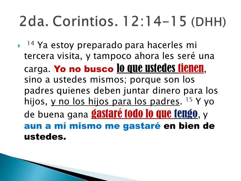 2da. Corintios. 12:14-15 (DHH)