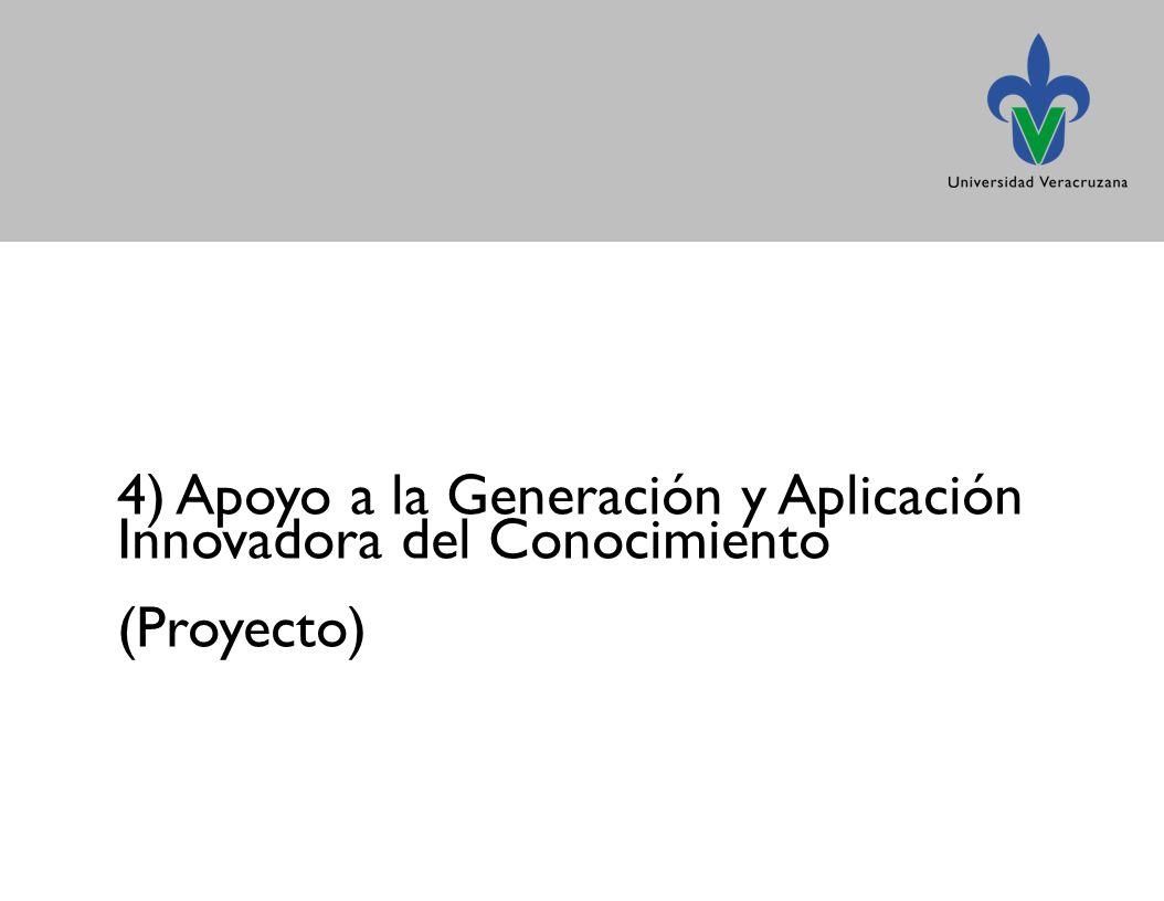 4) Apoyo a la Generación y Aplicación Innovadora del Conocimiento (Proyecto)