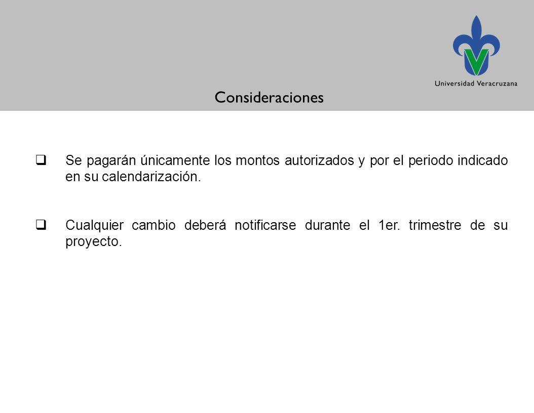 Consideraciones Se pagarán únicamente los montos autorizados y por el periodo indicado en su calendarización.