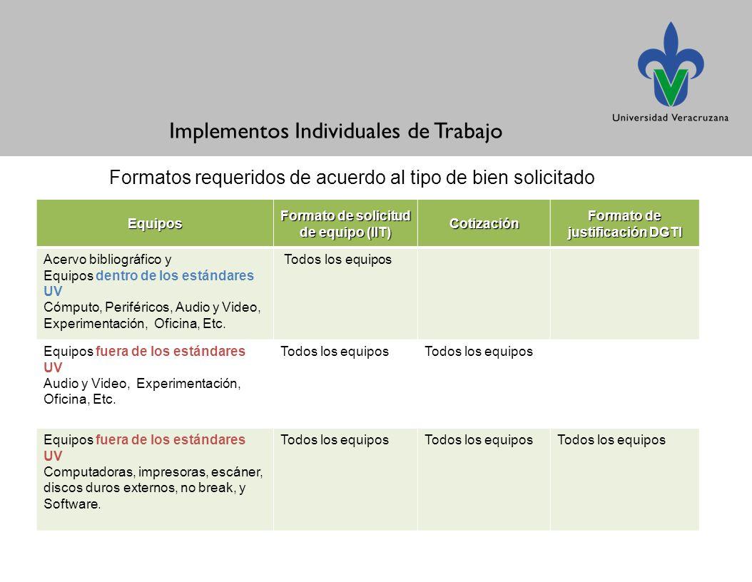 Formato de solicitud de equipo (IIT) Formato de justificación DGTI