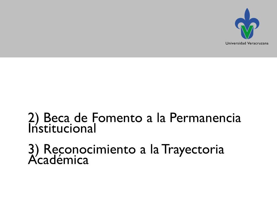 2) Beca de Fomento a la Permanencia Institucional 3) Reconocimiento a la Trayectoria Académica