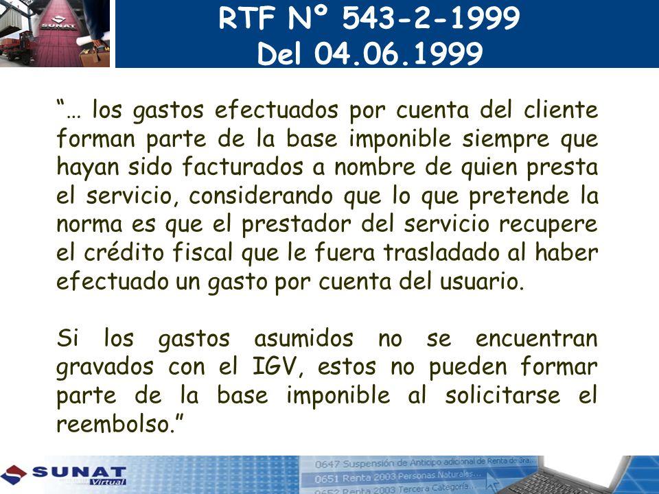RTF Nº 543-2-1999 Del 04.06.1999.
