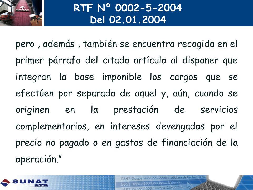 RTF Nº 0002-5-2004 Del 02.01.2004.