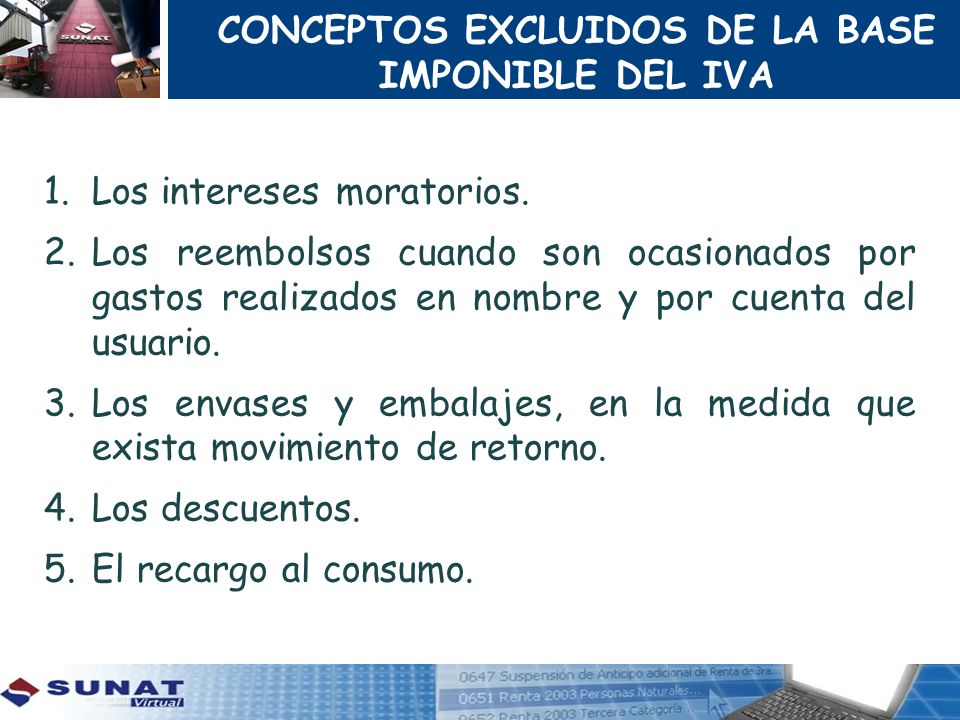 CONCEPTOS EXCLUIDOS DE LA BASE IMPONIBLE DEL IVA