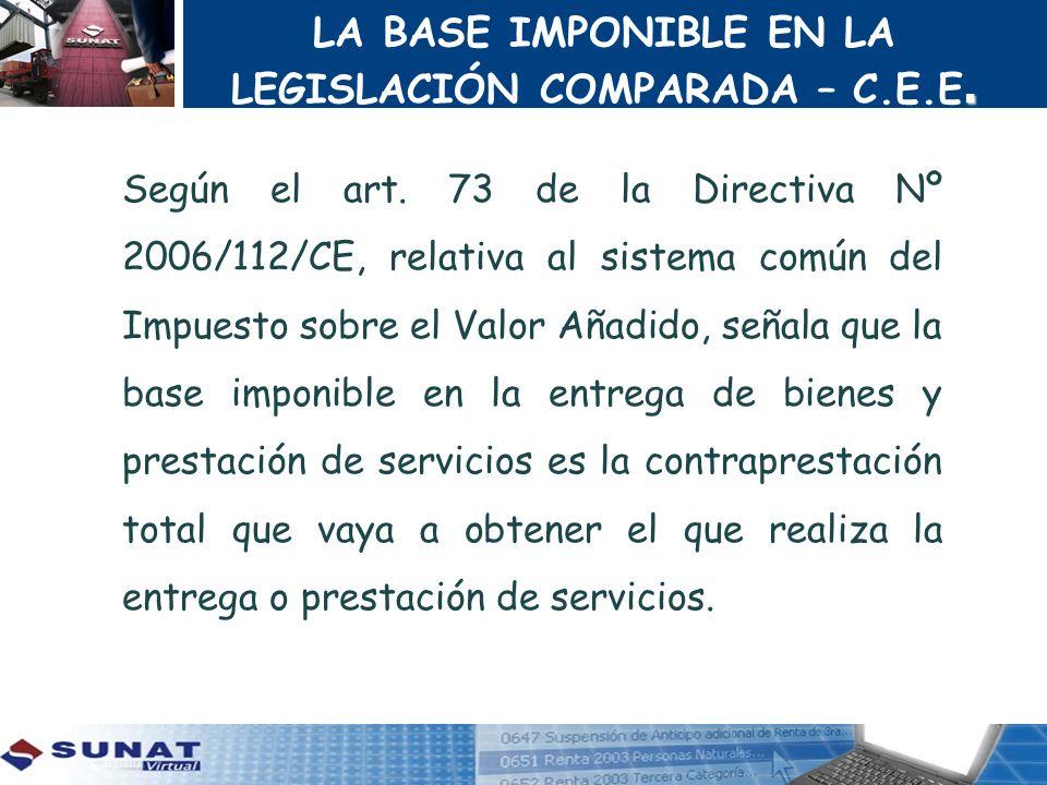 LA BASE IMPONIBLE EN LA LEGISLACIÓN COMPARADA – C.E.E.