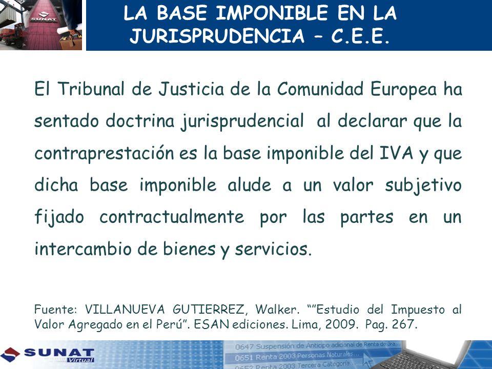 LA BASE IMPONIBLE EN LA JURISPRUDENCIA – C.E.E.