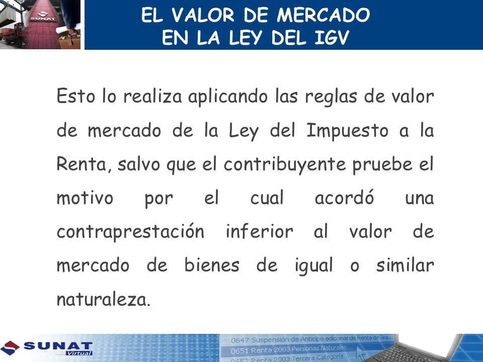 EL VALOR DE MERCADO EN LA LEY DEL IGV.