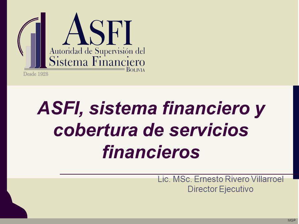 ASFI, sistema financiero y cobertura de servicios financieros