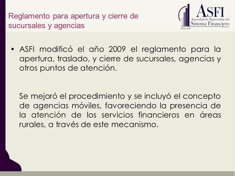 Reglamento para apertura y cierre de sucursales y agencias