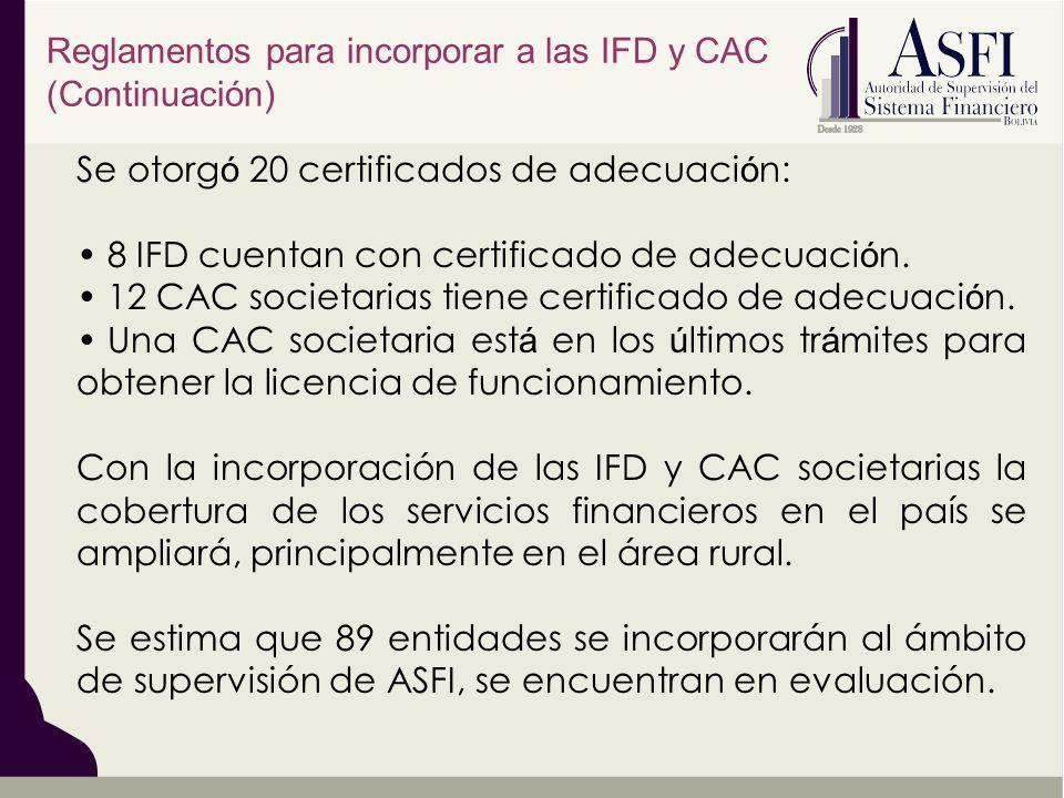 Reglamentos para incorporar a las IFD y CAC