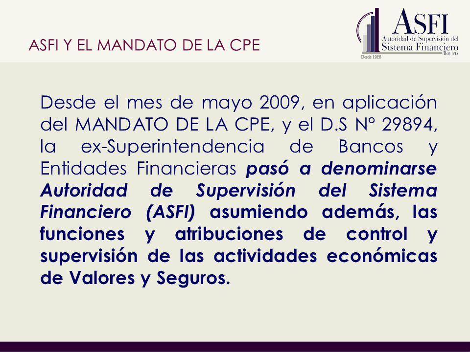 ASFI Y EL MANDATO DE LA CPE