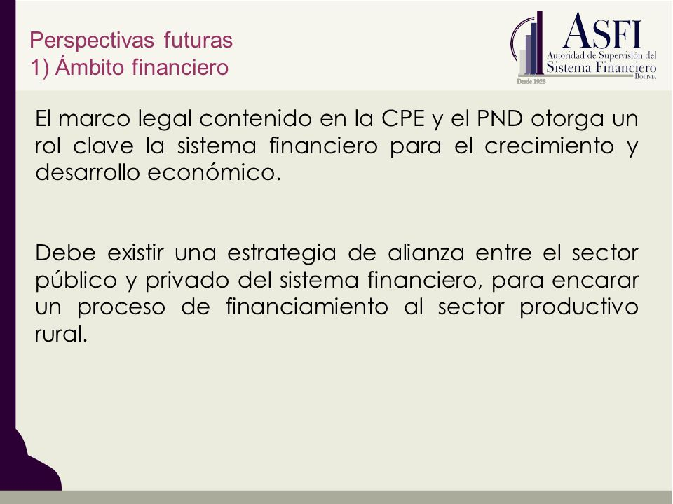 Perspectivas futuras 1) Ámbito financiero.