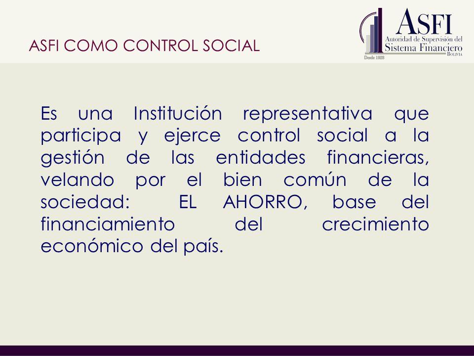 ASFI COMO CONTROL SOCIAL