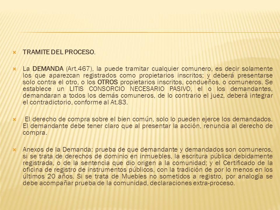 TRAMITE DEL PROCESO.