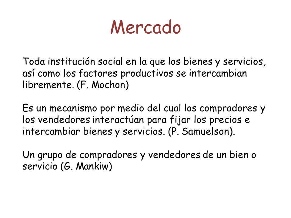 Mercado Toda institución social en la que los bienes y servicios, así como los factores productivos se intercambian libremente. (F. Mochon)