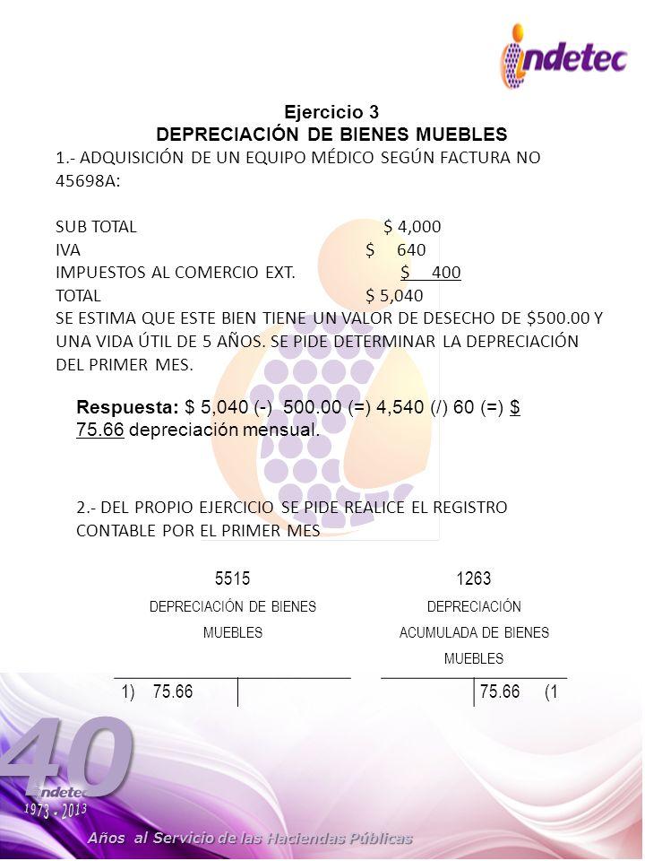 DEPRECIACIÓN DE BIENES MUEBLES