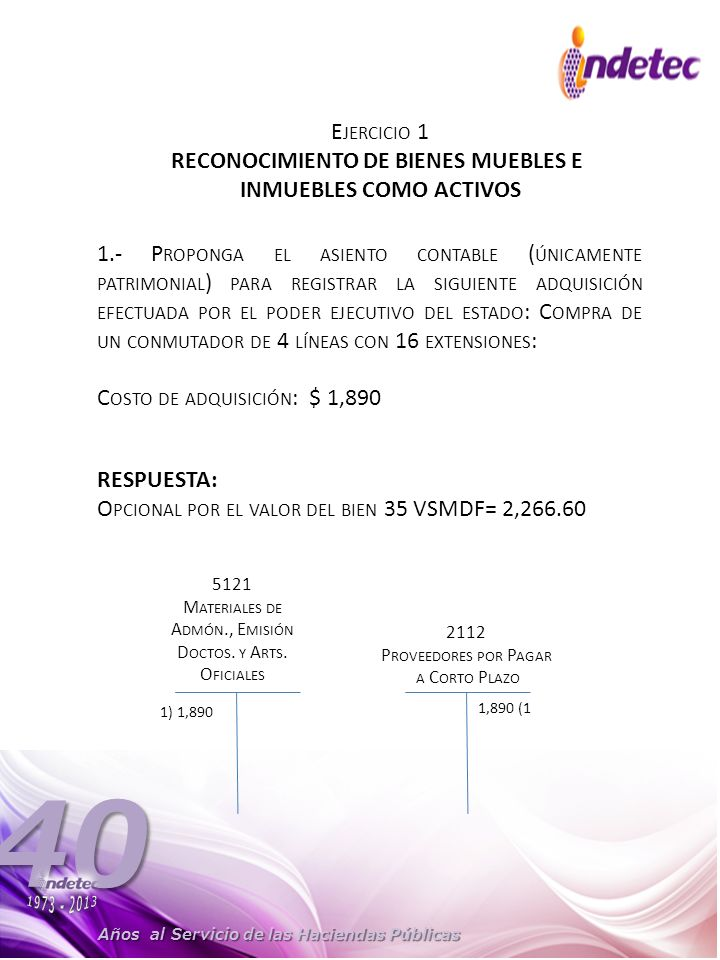 RECONOCIMIENTO DE BIENES MUEBLES E