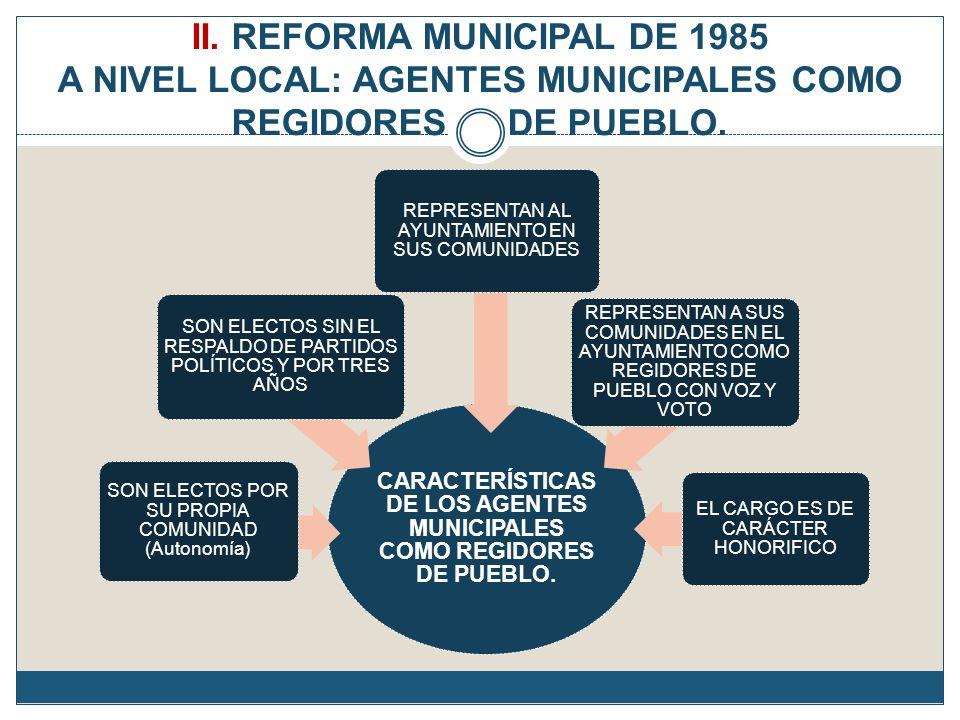CARACTERÍSTICAS DE LOS AGENTES MUNICIPALES COMO REGIDORES DE PUEBLO.