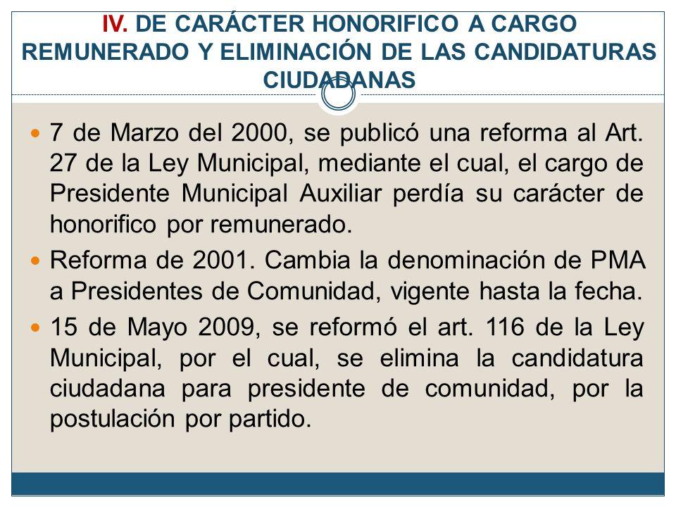 IV. DE CARÁCTER HONORIFICO A CARGO REMUNERADO Y ELIMINACIÓN DE LAS CANDIDATURAS CIUDADANAS