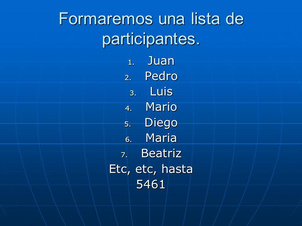 Formaremos una lista de participantes.