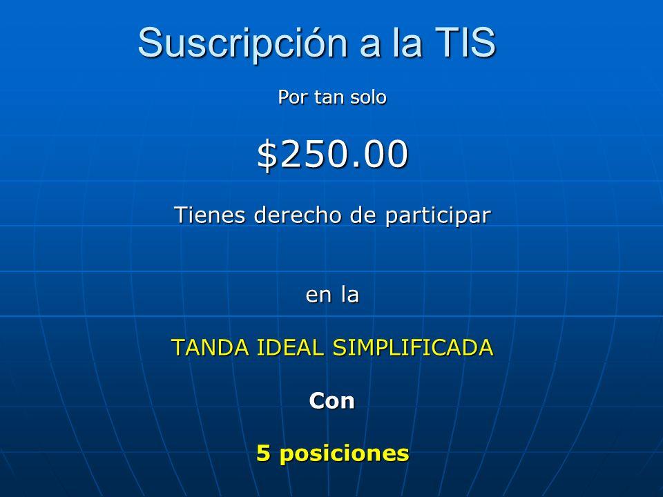 Suscripción a la TIS $250.00 Tienes derecho de participar en la
