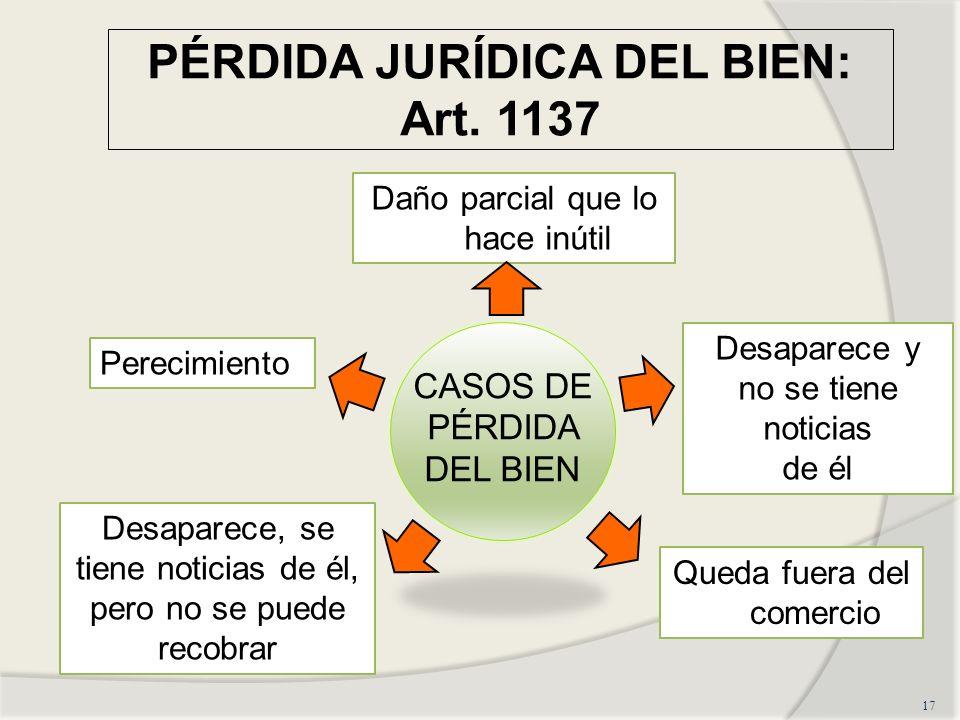 PÉRDIDA JURÍDICA DEL BIEN: Art. 1137