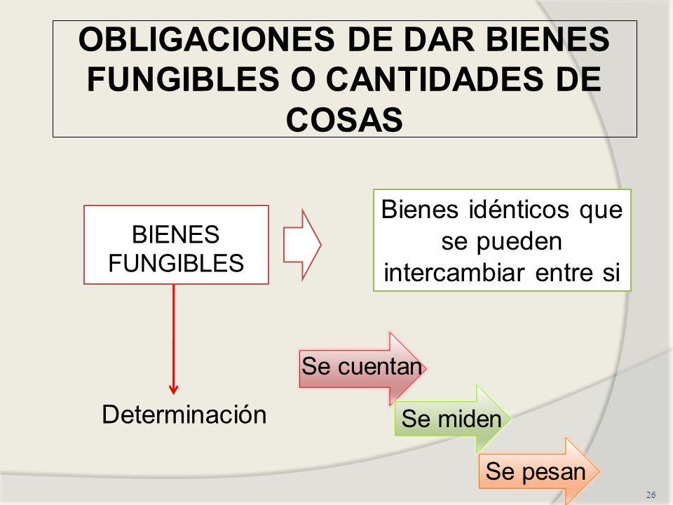 OBLIGACIONES DE DAR BIENES FUNGIBLES O CANTIDADES DE COSAS