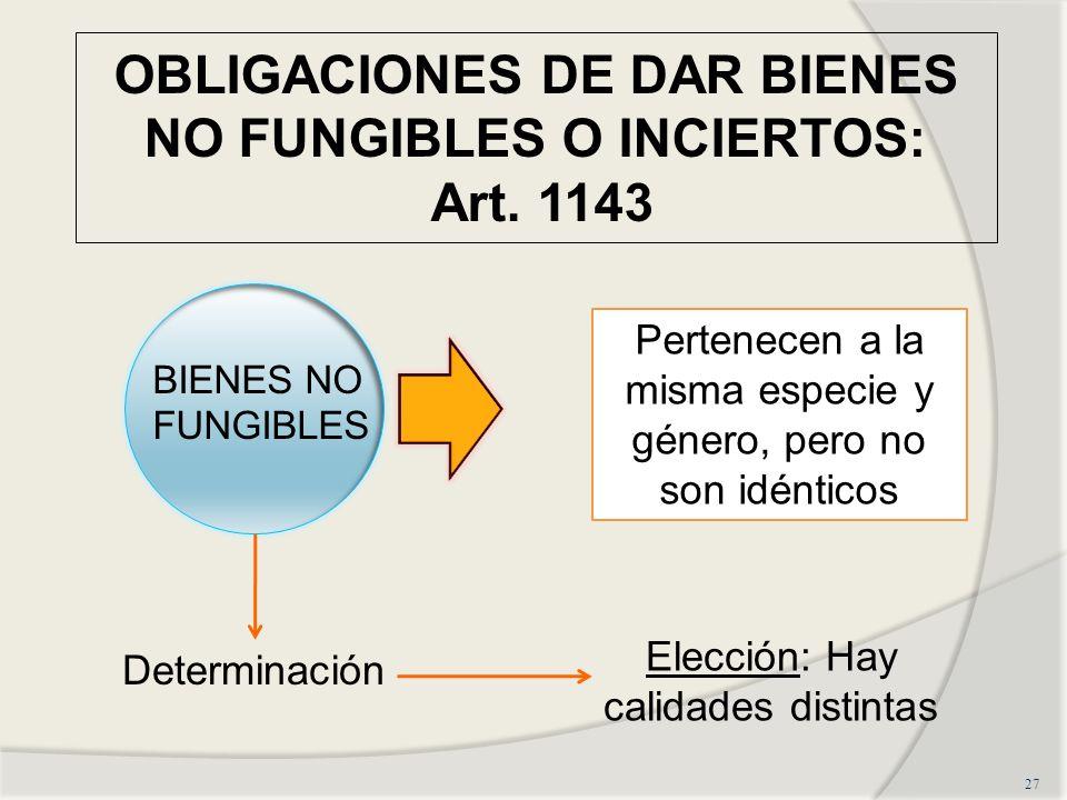 OBLIGACIONES DE DAR BIENES NO FUNGIBLES O INCIERTOS: Art. 1143