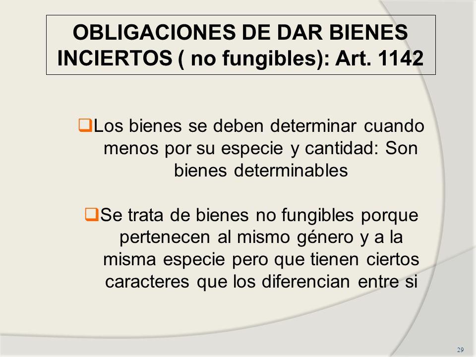 OBLIGACIONES DE DAR BIENES INCIERTOS ( no fungibles): Art. 1142