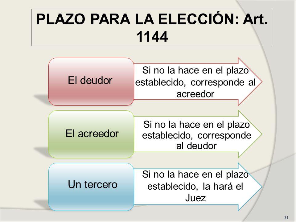 PLAZO PARA LA ELECCIÓN: Art. 1144