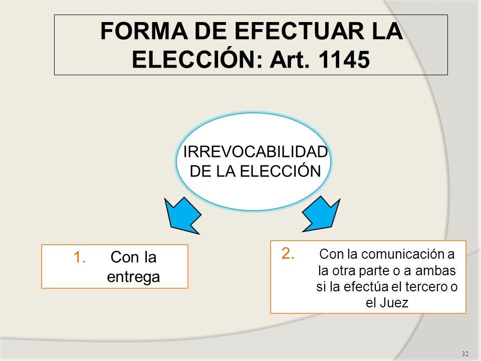 FORMA DE EFECTUAR LA ELECCIÓN: Art. 1145