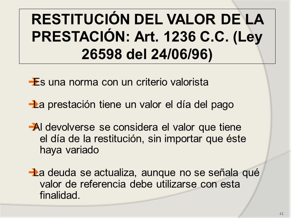 RESTITUCIÓN DEL VALOR DE LA PRESTACIÓN: Art. 1236 C. C