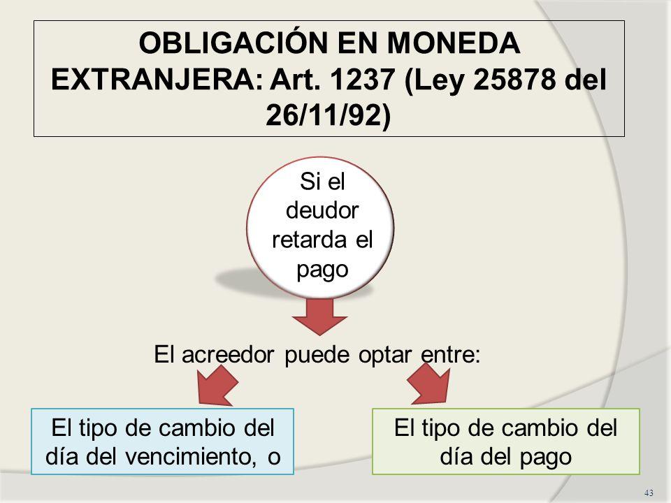 OBLIGACIÓN EN MONEDA EXTRANJERA: Art. 1237 (Ley 25878 del 26/11/92)