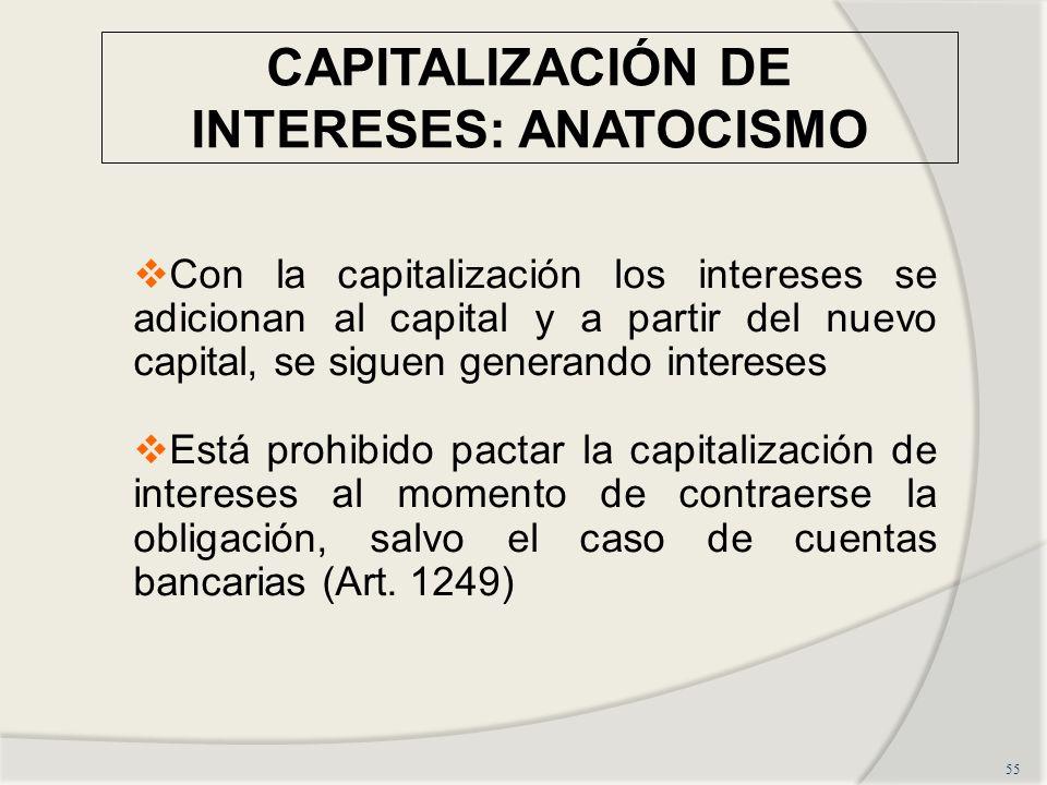 CAPITALIZACIÓN DE INTERESES: ANATOCISMO