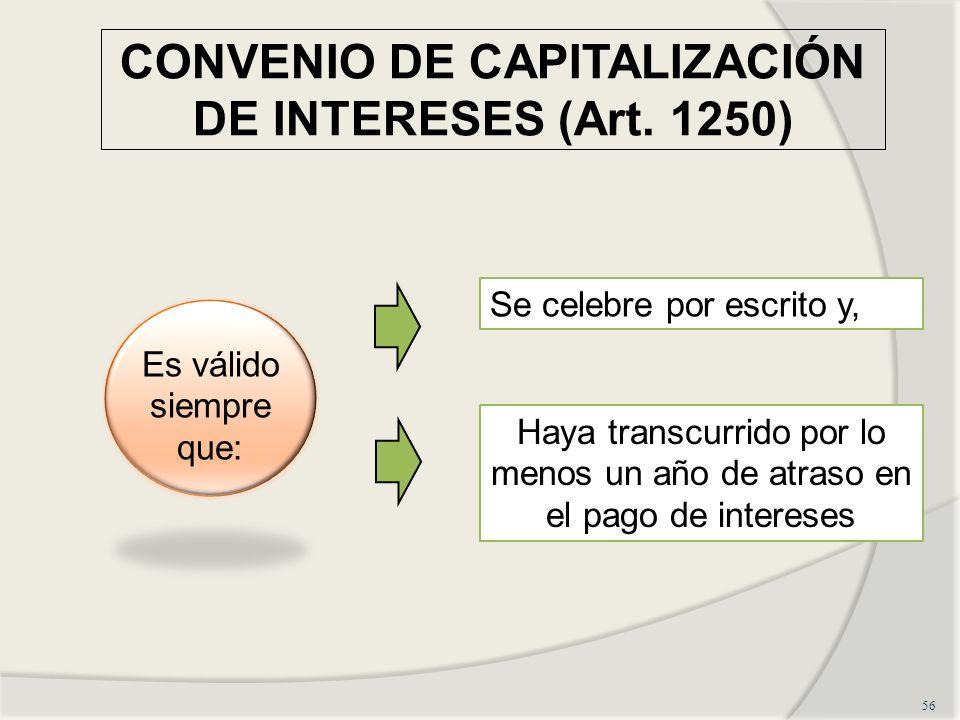 CONVENIO DE CAPITALIZACIÓN DE INTERESES (Art. 1250)