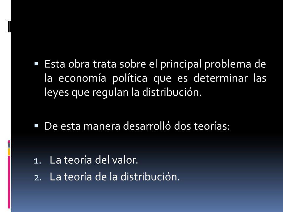 Esta obra trata sobre el principal problema de la economía política que es determinar las leyes que regulan la distribución.