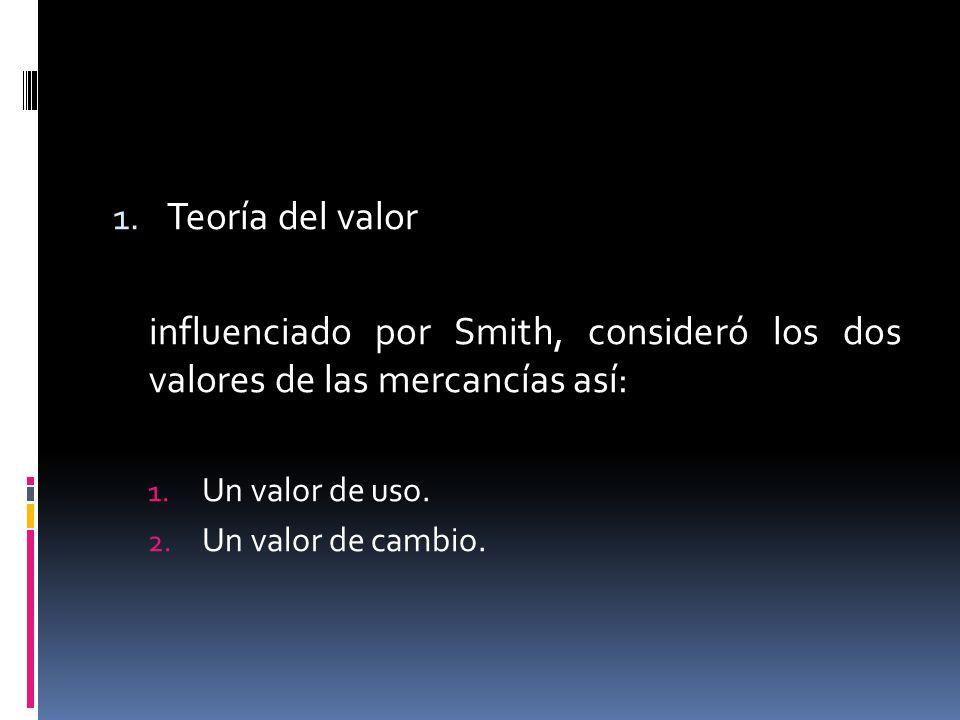 Teoría del valor influenciado por Smith, consideró los dos valores de las mercancías así: Un valor de uso.
