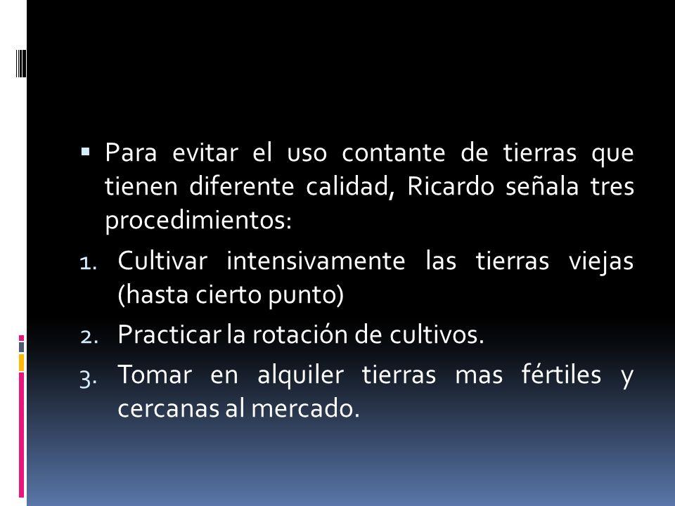Para evitar el uso contante de tierras que tienen diferente calidad, Ricardo señala tres procedimientos: