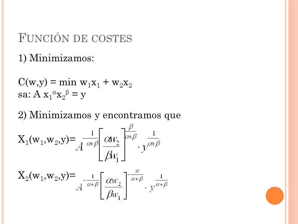 Función de costes 1) Minimizamos: C(w,y) = min w1x1 + w2x2