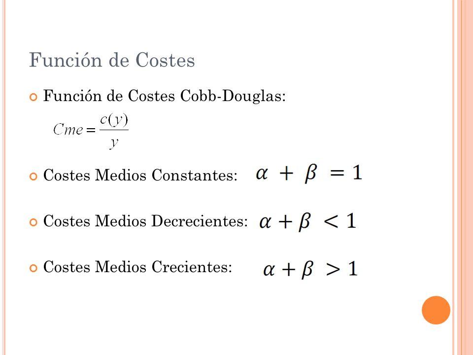Función de Costes Función de Costes Cobb-Douglas: