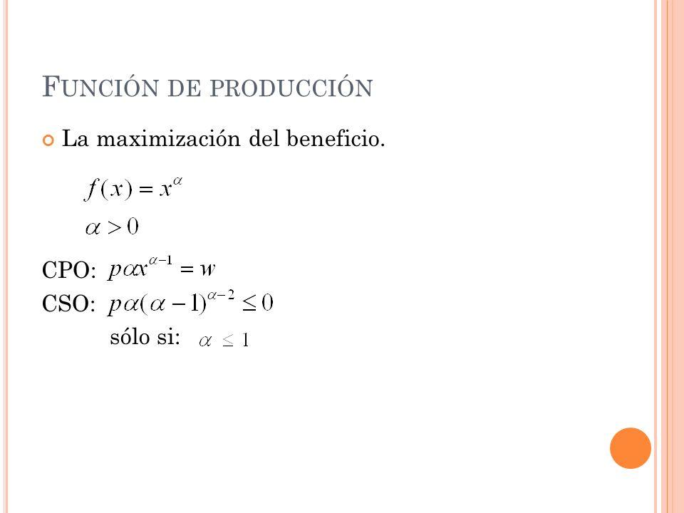 Función de producción La maximización del beneficio. CPO: CSO: