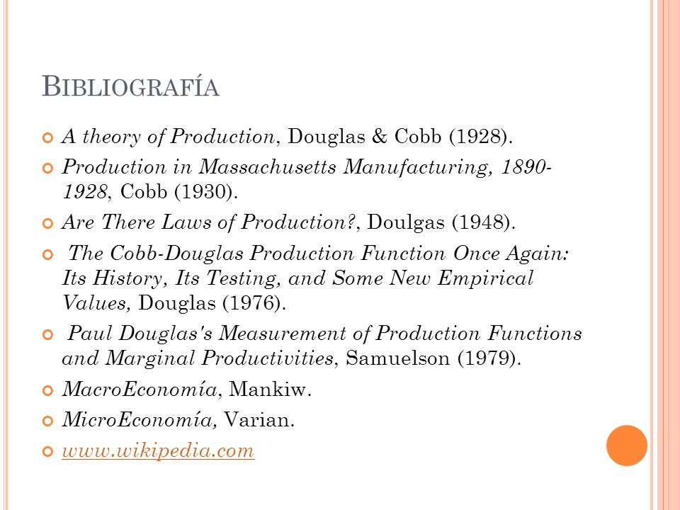 Bibliografía A theory of Production, Douglas & Cobb (1928).